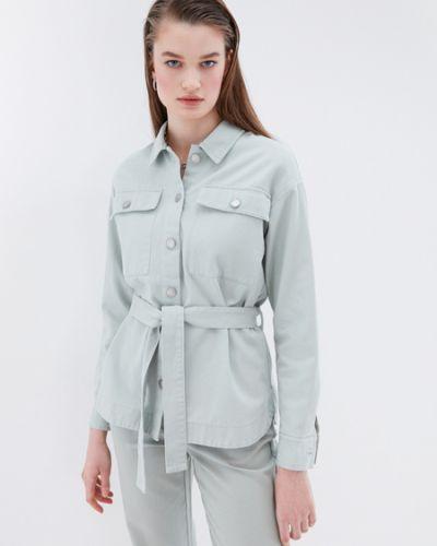 Хлопковая зеленая джинсовая рубашка Zarina