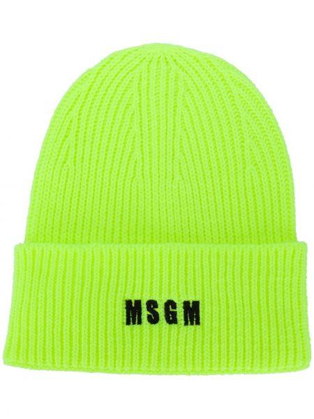 Акриловая желтая шапка бини в рубчик Msgm
