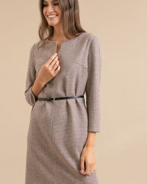 Платье с поясом с V-образным вырезом в клетку Emka