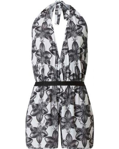 Biały kombinezon krótki z wiskozy z dekoltem w serek Karl Lagerfeld Beachwear
