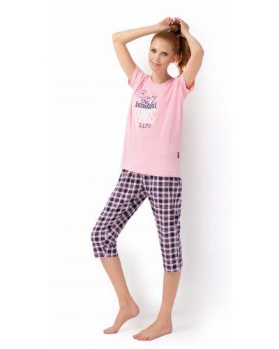 Różowa piżama bawełniana krótki rękaw Envie