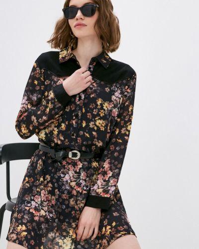 Черное платье-рубашка Please