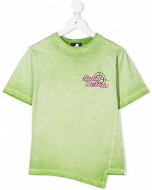 Зеленая футболка круглая с круглым вырезом с надписью Cinzia Araia Kids