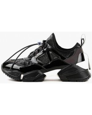 Кожаные лаковые черные кроссовки Sasha Fabiani