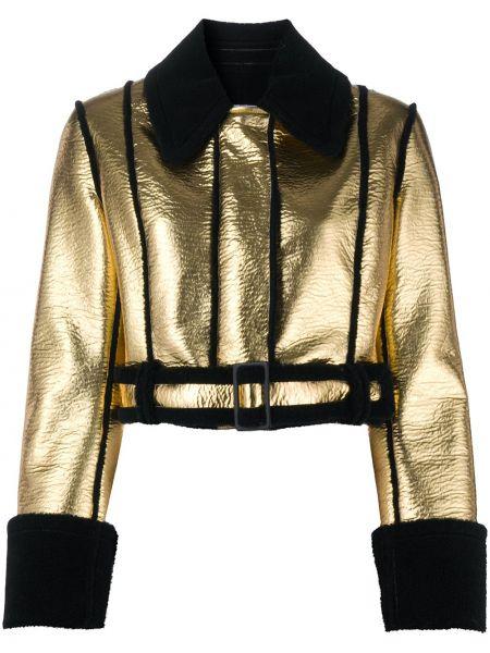 Złota czarna długa kurtka z długimi rękawami Brognano