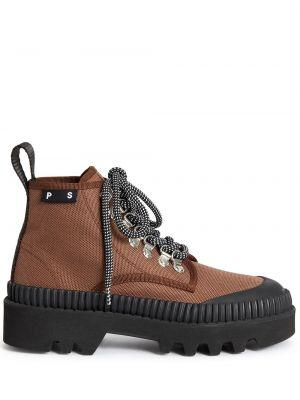 Хлопковые коричневые ботинки Proenza Schouler