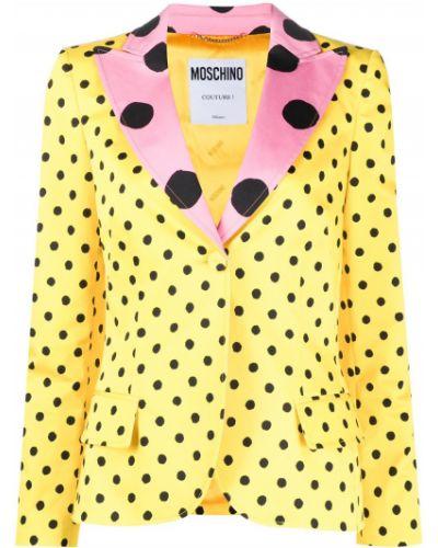 Желтый пиджак с воротником на пуговицах Moschino