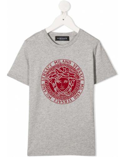 Prążkowany t-shirt bawełniany krótki rękaw Young Versace