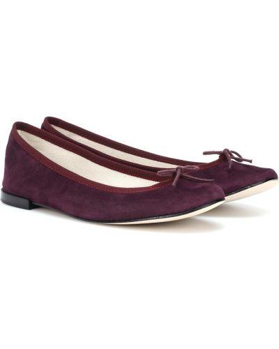 Кожаные фиолетовые балетки Repetto