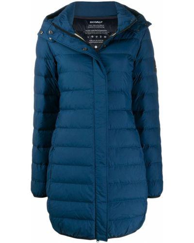 Прямое пуховое коралловое длинное пальто с капюшоном Ecoalf