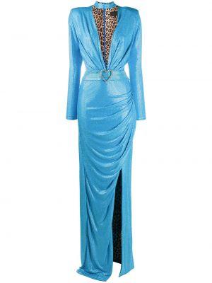 С рукавами синее вечернее платье со стразами Philipp Plein