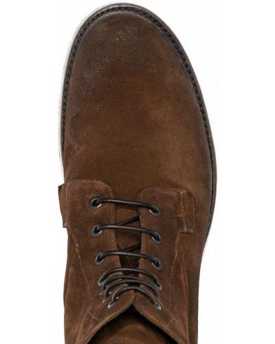 Кожаные коричневые ботинки на шнуровке Silvano Sassetti