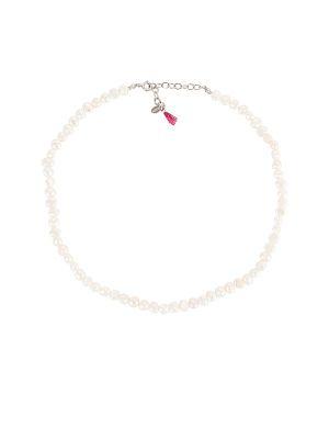 Biały naszyjnik srebrny Shashi