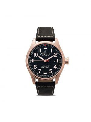 Синие кожаные часы круглые Alpina