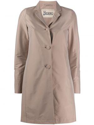 Однобортное розовое длинное пальто из плащевки с карманами Herno