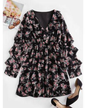 Платье с цветочным принтом шифоновое Zaful