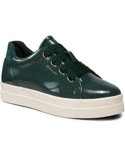 Zielone półbuty lakierowane Gant