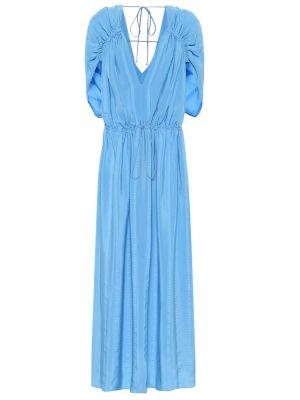 Синее шелковое платье макси Stella Mccartney