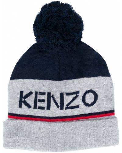 Ватная хлопковая серая шапка бини Kenzo Kids