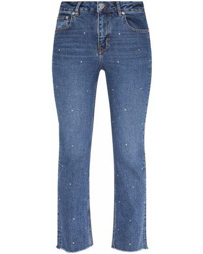 Укороченные джинсы с манжетами синие Maje