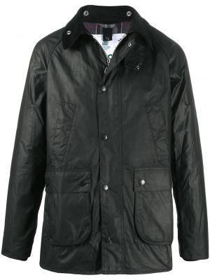 Czarny klasyczny długi płaszcz z kołnierzem z kieszeniami Barbour