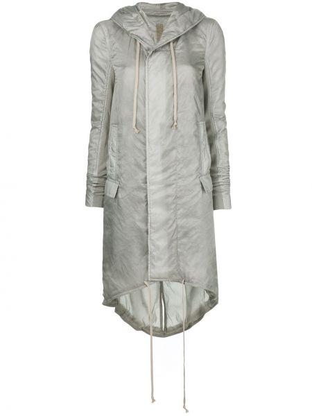 Серый длинное пальто с капюшоном на молнии Rick Owens Drkshdw