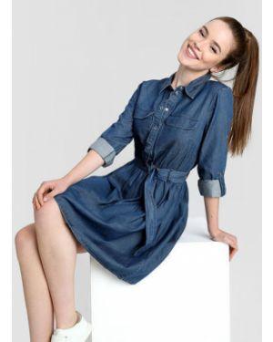 Платье с поясом платье-рубашка шелковое Ostin