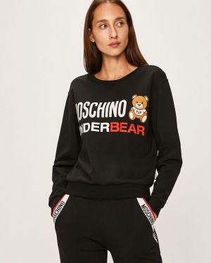 Czarna bluza bawełniana z printem Moschino Underwear