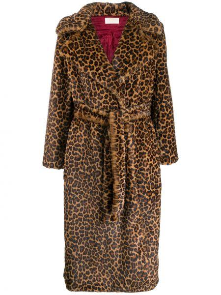 Длинное пальто леопардовый с принтом Sara Battaglia