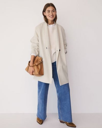 Шерстяное бежевое пальто с воротником на пуговицах Mango