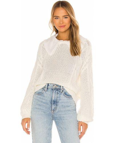 Открытый белый свитер с воротником Line & Dot