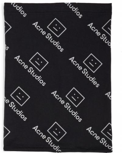 Czarny komin bawełniany z printem Acne Studios