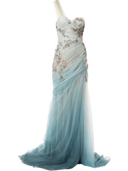 Шелковое синее платье с вышивкой Marchesa