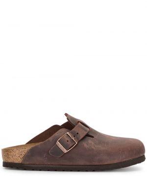 Кожаные слиперы - коричневые Birkenstock