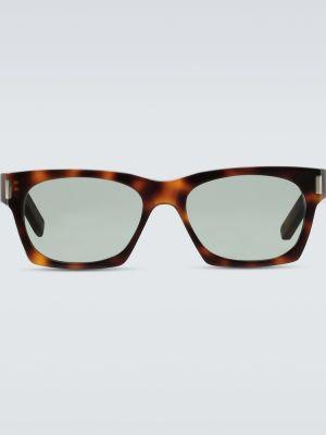 Brązowy oprawka do okularów plac z prawdziwej skóry Saint Laurent