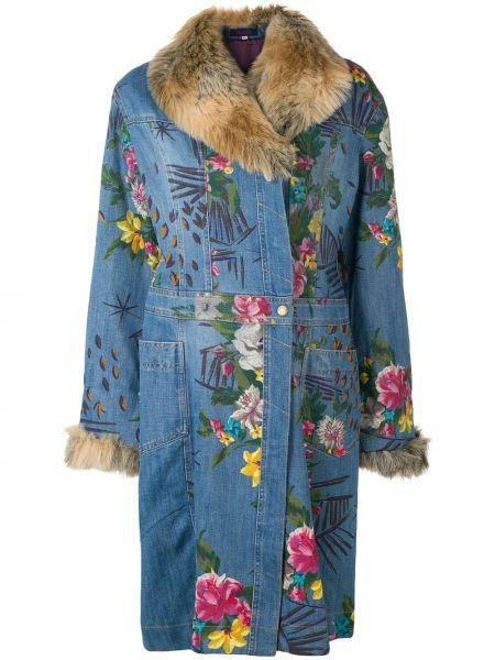 Прямое синее длинное пальто с капюшоном Kenzo Pre-owned