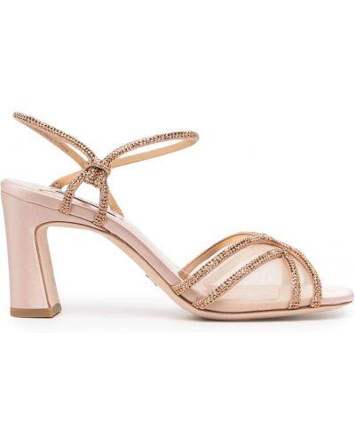 Różowe złote sandały na obcasie Badgley Mischka