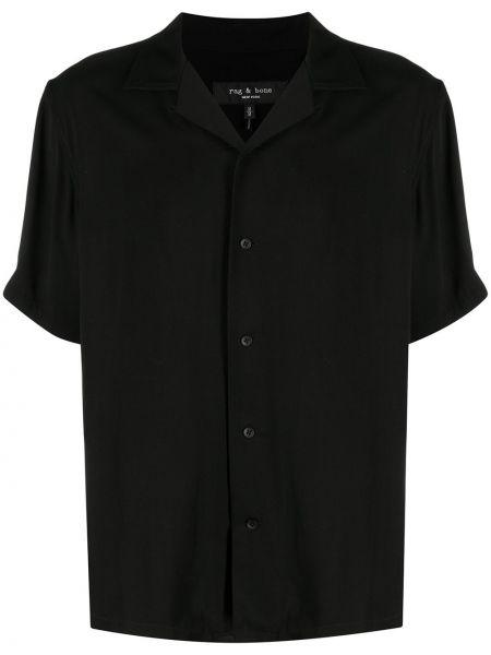 Czarna koszula krótki rękaw z wiskozy Rag & Bone