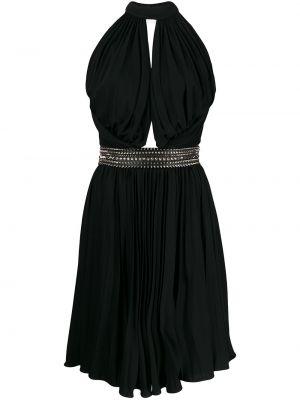 Приталенное черное платье с поясом Philipp Plein
