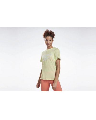 T-shirt bawełniana - żółta Reebok