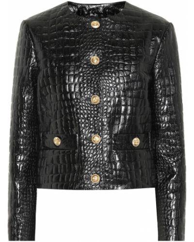 Кожаная куртка черная из кожи крокодила Gucci