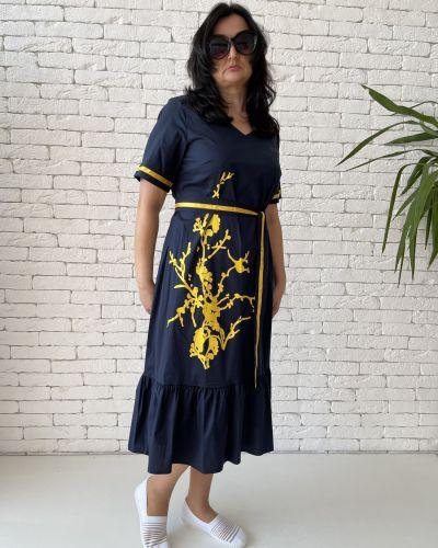 Хлопковое платье миди - синее Eternal Flame