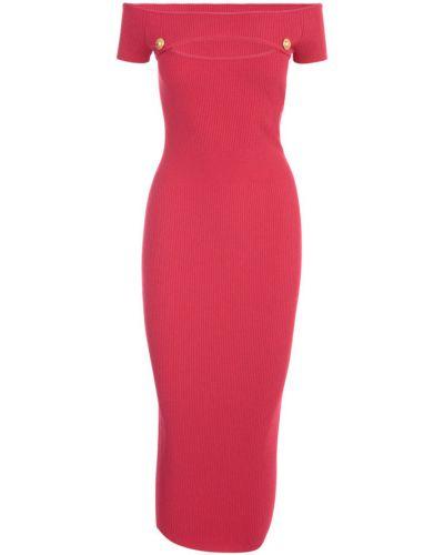 Czerwona sukienka midi w paski krótki rękaw Balmain