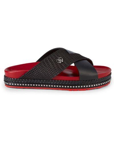 Czarne sandały sportowe skorzane peep toe Roberto Cavalli
