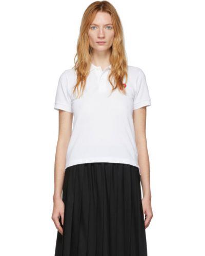 Bawełna biały koszulka polo krótkie rękawy z haftem Comme Des Garcons Play