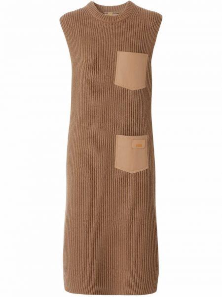 Sukienka prążkowana - brązowa Burberry