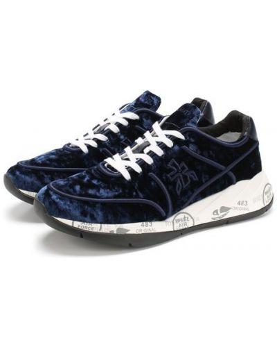 Кроссовки на шнуровке бархатные Premiata