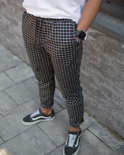Черные брюки в клетку с поясом Without