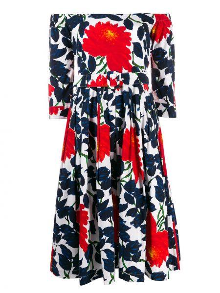 Платье миди с открытыми плечами с принтом Samantha Sung