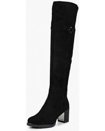 Ботфорты на каблуке замшевые черные Provocante